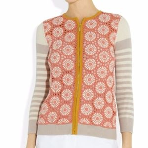 TORY BURCH Elaine crocheted ribbed cotton cardigan